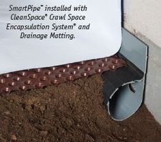 Key parts of a crawl space drainage system Crawl Space Waterproofing System Wet Basement, Basement Walls, Crawl Space Vapor Barrier, Foundation Drainage, Crawl Space Encapsulation, Crawl Space Foundation, Basement Systems, Yard Drainage, Drainage Solutions