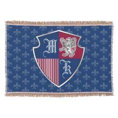 Silver Lion Coat of Arms Monogram Emblem Shield Throw - monogram gifts unique custom diy personalize