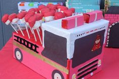 ThanksFire fighter party ideas (love the cake pop fire truck!) awesome pin