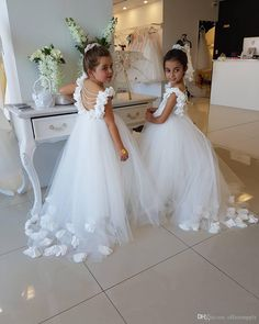 Opening Back White Tulle Flower Girls Dresses, 2017 Flowers Peals Puffy First ,Communion Gowns For Girls Princess Pageant Dress,white Flower Girl Dress Tulle Flower Girl, White Flower Girl Dresses, Tulle Flowers, Little Girl Dresses, Flower Girls, Flower Ball, Gowns For Girls, Girls Dresses, Dresses Dresses