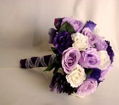 Items similar to Bride Bouquet Wedding Flowers accessories Purple Lavender silk Rose spring Bridal Bouquet silver ribbon wrap on Etsy