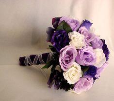 Bride Bouquet Wedding Flowers accessories Purple by AmoreBride, $115.00