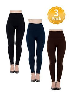 fa3ebae79 Seamless High Waist Leggings for Women Fashion Tights for WorkoutFull  Length Fleece Lined 3 Pack ML BlackCharcoalBrown    Read more at the image  link.