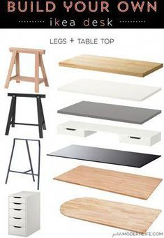 Build Your Own Ikea Desk Build your own modern sleek desk for as low as 26 like this pretty one with trestle legs white table top Home Office Design, Home Office Decor, Office In Bedroom Ideas, At Home Office Ideas, Home Office Storage, Office Style, Home Decor, Ikea Desk Legs, Ikea Hack Desk