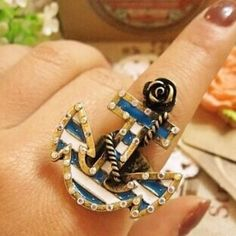 Cool Navy Anchor Style #Ring - Fashion9shop.com