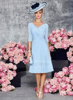 A-Line/Princess V-neck Knee-Length Ruffle Beading Chiffon Zipper Up Sleeves 1/2 Sleeves Yes Sky Blue Spring Summer Fall Mother of the Bride Dress