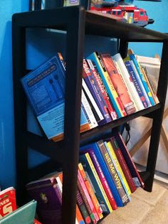 Mom's Magical Miles: Motherhood Monday: Makin' Progress on That Room For Two!  Kid's book storage - thrift shop refurb