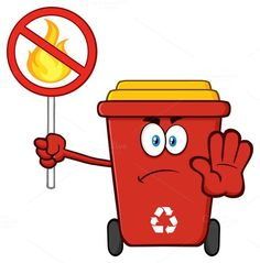 Nice Angry Red Recycle Bin Character   CreativeWork247 - Fonts, Graphics, Themes, Tem...