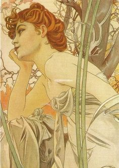 ⊰ Posing with Posies ⊱ paintings & illustrations of women & children with flowers - Alphonse Mucha