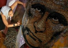 Ukrainian artist Dariya Marchenko created a portrait of Russian President Vladimir Putin made out of 5,000 cartridges recovered from the fighting between the Ukrainian army and pro-Russian rebels in the east of the country. Marchenko calls her art philosophic symbolism, where every element has its hidden meaning. Despite the ceasefire in February and an agreement to stop the use of heavy weapons, fighting continues in some areas.