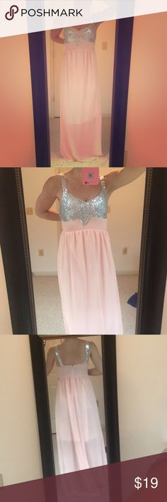 Pink chiffon dress with silver sequins Beautiful pink chiffon dress with silver sequins. Never worn. My measurements are 34C, 29 inch waist, 40 inch hips. Could also fit a 36C/34D or 33 inch waist. Excellent condition, smoke free home. Dresses