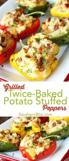 These Grilled Twice Baked Potato Stuffed Peppers are the perfect addition to your menu! @BordenCheese #ad