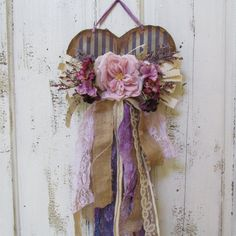 Shabby chic tattered heart wall hanging shades by AnitaSperoDesign, $60.00