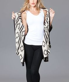 Look at this Black & Beige Geo Open Cardigan on #zulily today!