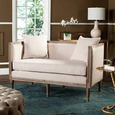 Shop for Safavieh Leandra Beige / Rustic Oak Rustic French Country Settee - 53 Decor, Country Decor, Furniture, Settee, Love Seat, French Country Settee, Rustic French Country, Home Decor, Living Room Furniture