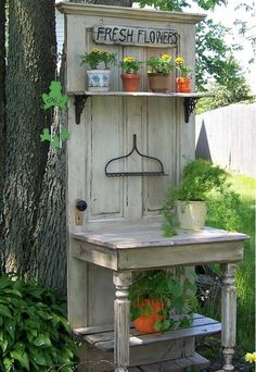 Potting bench made from old door