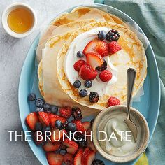 End brunch on a sweet note with pretty and tasty paper-thin crepes. Smear on a spoonful of honey-vanilla Greek then bedazzle with fresh berries for a light juicy treat. End brunch on a swee Breakfast And Brunch, Egg Recipes For Breakfast, Breakfast Dishes, Breakfast Sandwiches, Perfect Breakfast, Sunday Brunch, Breakfast Ideas, Best Brunch Recipes, Favorite Recipes