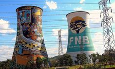 Power plant chimmneys near Johannesburg, South Africa, as seen from a moving car. Zimbabwe, Namibia, Out Of Africa, Water Tower, Illustrations, South Africa, Places To Go, Street Art, National Parks