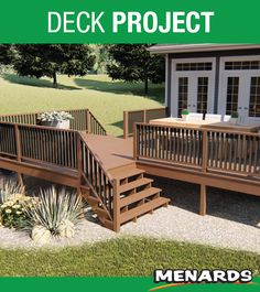 The x Letterman deck is a great addition to any house. It includes dual stair cases and will be sure to wow any guest! Corner Deck, Decking Material, Landscape Materials, Building Materials, Landscaping, New Homes, Stairs, Yard, Cases