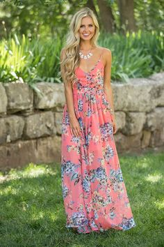 Heaven On Earth Maxi Dress Coral - The Pink Lily
