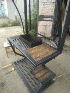 Welded Furniture, Iron Furniture, Steel Furniture, Metal Projects, Welding Projects, Bbq Smoker Trailer, Outdoor Kitchen Plans, Bbq Table, Portable Bbq