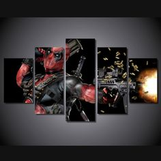 5 Piece Multi Panel Modern Home Decor Framed Marvel Comics Deadpool Superhero Wall Canvas Art - Octo Treasures - 1 Poster Pictures, Wall Art Pictures, Canvas Pictures, Canvas Art Prints, Canvas Wall Art, Painting Canvas, Painting Trees, Frame Wall Decor, My New Room