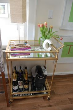 ---{Gold & Mirrored} Target Bar Cart Hack--- So excited!!! I just bought this cart (after not being able to find it anywhere!!) and this is exactly what I plan to do to it.... Except in silver/chrome