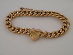 9K Antique Gold Bracelet Victorian Edwardian Curbed Link Puffy Heart English