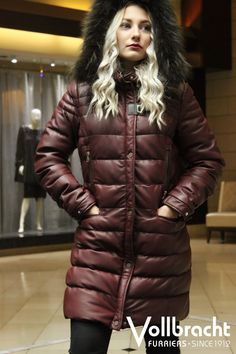 9bd2367e11e Burgundy Leather Down Coat with Fur Trim Hood from Vollbracht Furs