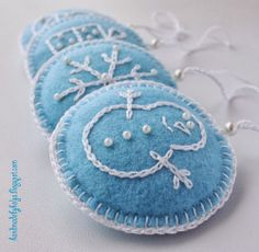 Christmas felt and crewel ornaments
