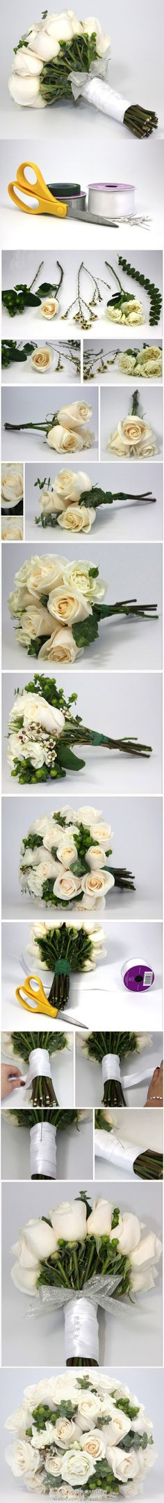 "i think it would be kinda memorable to do our boquets and in each one there could be a little something that it ""you"". How to make bouquet guide. Wedding Bells, Wedding Events, Our Wedding, Dream Wedding, Weddings, Wedding White, Diy Wedding Bouquet, Wedding Flowers, Diy Bouquet"