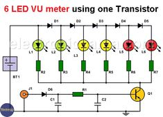 6 LED VU meter using one transistor (circuit) - Electronics Area Basic Electronic Circuits, Electronic Circuit Projects, Electronic Schematics, Electronic Parts, Electronic Engineering, Electrical Engineering, Engineering Projects, Diy Electronics, Electronics Projects