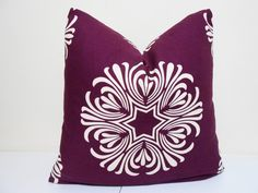 Purple Plum Ivory Pillow Cover Duralee by ZourraDesigns on Etsy