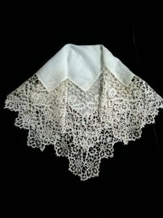 19th C. Carrickmacross Guipure Lace Handkerchief