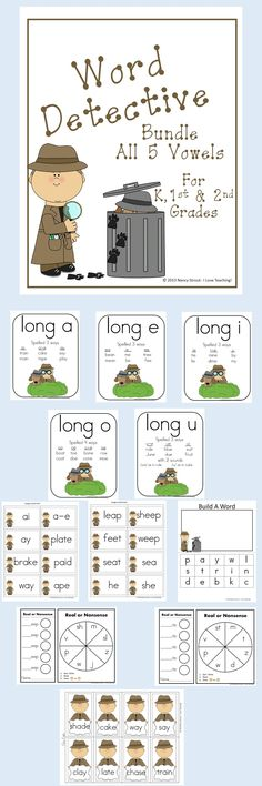 Long vowels: this is a long vowel bundle. Be a word detective hunting for and sorting long vowel words. Get all of the Word Detectives Long vowels together for a discounted price. This bundle includes games, printables, word sorts, and making word actiivties. Each one is in color and black and white.