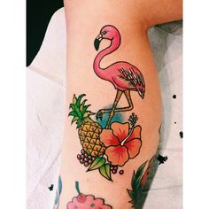 Awesome flamingo and pineapple tattoo by Lauren Winzer