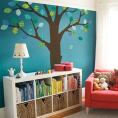 Tree with Patterned Leaves Ceiling Style Wall Sticker - Repositionable Fabric - Simple Shapes Wall Decals, Furniture, and Accessories