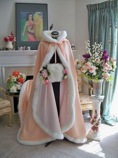 Victorian Bridal cape 62 inch wedding cloak Peach / Ivory Satin with fur trim Handmade in USA Sleeping Beauty Wedding, Bridal Cape, Garden Party Wedding, Cloaks, Military Ball, Lolita Dress, Asian Style, Fur Trim, Pretty Outfits