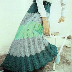 Very cool. Vintage Retro Ripple Maxi Skirt #chevron #crochet #pattern hmmm could I wear this?