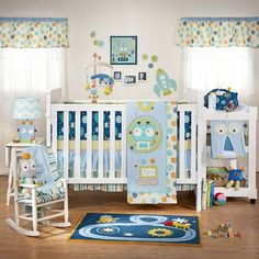 Cute boy room... Baby Bot 4-Piece Crib Bedding Set