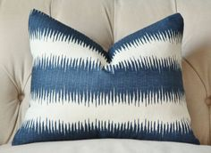 Blue and White Stripe Pillow Cover - Linen Striped Cushion - Toss Pillow - Ikat…