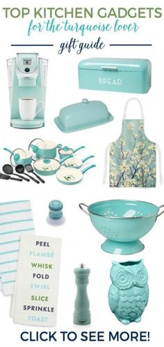 Top 15 Kitchen Turquoise Gifts for the Cook Have a turquoise lover in your life? Is she a cook or baker? Then she will LOVE these kitchen turquoise gifts! Are YOU a turquoise lover? - Top 15 Kitchen Turquoise Gifts for the Cook Shabby Chic Kitchen, Farmhouse Kitchen Decor, Home Decor Kitchen, Kitchen Gifts, Kitchen Ideas, Sage Kitchen, Kitchen Designs, Diy Kitchen, Vintage Kitchen