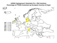 Map of Haplogroup K (MtDNA), specifically K1a, per FamilyTreeDNA members' European countries of origin.
