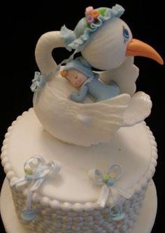 Cigüeña pastel de cumpleaños torta de la ducha de bebé