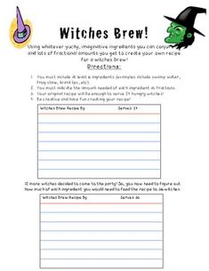 Free! Creating a witches brew recipe using fractions. Students work on multiplying and dividing fractions to create new recipes! Fun for Halloween.