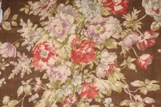 Braemore :: 1.7 Yards Braemore Spring Bloom Printed Cotton Drapery Fabric in Bronze - Fabric Guru.com: Fabric, Discount Fabric, Upholstery F...