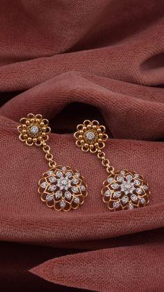 Diamond Earrings Studs Small all Diamond Stud Earrings Sale Uk Diamond Earrings Indian, Gold Jhumka Earrings, Indian Jewelry Earrings, Fancy Jewellery, Jewelry Design Earrings, Gold Earrings Designs, Gold Jewellery Design, Necklace Designs, Gold Jewelry