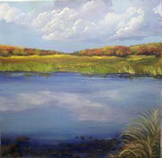 Acrylic painting  Cloudy Lake