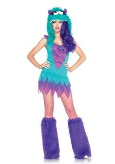 Leg Avenue Women's 3 Piece Fuzzy Frankie, Dress with Tiered Skirt And Furry Monster Hood Costume