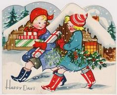 Vintage Christmas Card. Greetings Card. Delivering Presents in the Snow. | eBay